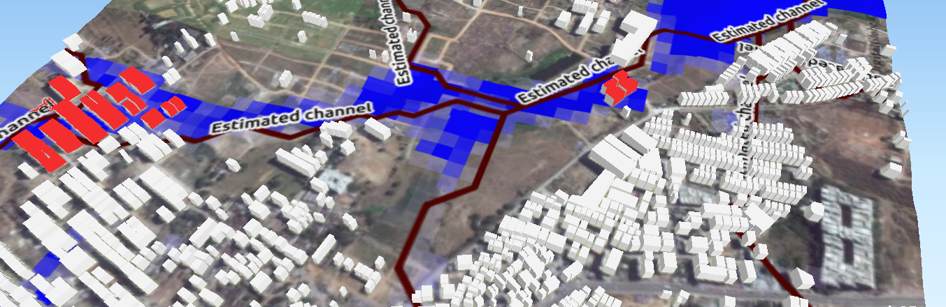 Buildings (Shown In RED) in Natural streams : background source Bing Maps